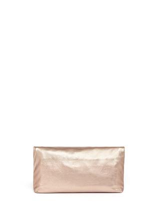 Back View - Click To Enlarge - Alexander McQueen - 'Padlock' metallic leather clutch