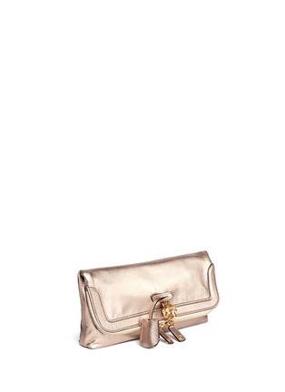 Front View - Click To Enlarge - Alexander McQueen - 'Padlock' metallic leather clutch
