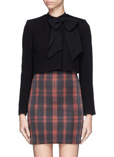 ALICE + OLIVIA High-low hem bow cropped blazer