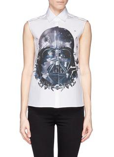 PREEN BY THORNTON BREGAZZI'Darth Vader' print cutout lace trim shirt