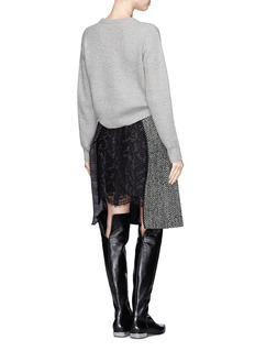 SACAI Lace underlay herringbone wool wrap skirt