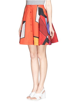 Front View - Click To Enlarge - Chictopia - Geometric print button front skirt