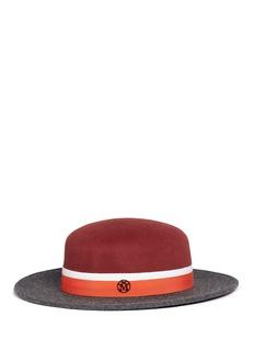 Maison Michel'Rod' colourblock rabbit furfelt canotier hat