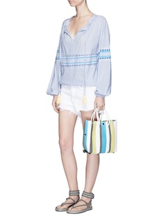 Truss Small stripe woven PVC crossbody tote