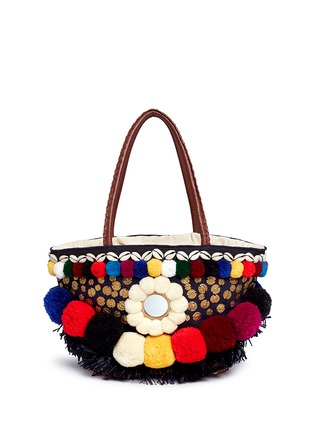 Detail View - Click To Enlarge - Figue - 'Zena Tuk Tuk' pompom and ethnic coin canvas tote