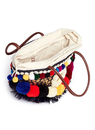 - Figue - 'Zena Tuk Tuk' pompom and ethnic coin canvas tote