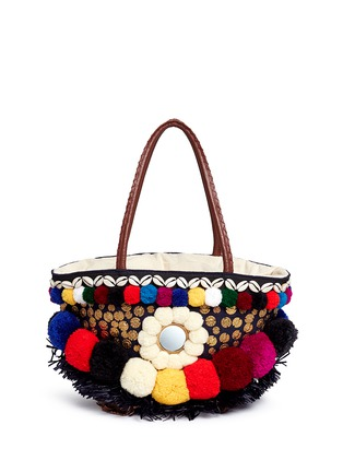 Main View - Click To Enlarge - Figue - 'Zena Tuk Tuk' pompom and ethnic coin canvas tote