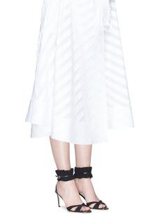 Alexander White'Ines' ruffle elaphe trim suede sandals