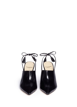 Front View - Click To Enlarge - Alexander White - 'Issey' tassel slingback leather mules