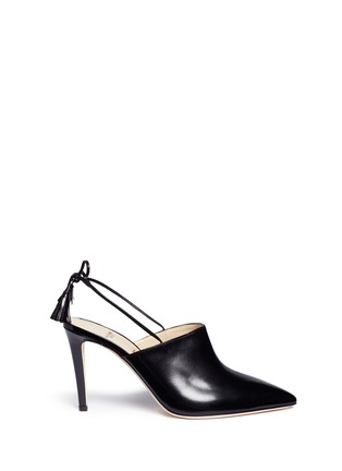Main View - Click To Enlarge - Alexander White - 'Issey' tassel slingback leather mules