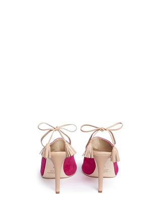 Back View - Click To Enlarge - Alexander White - 'Issey' tassel slingback suede mules