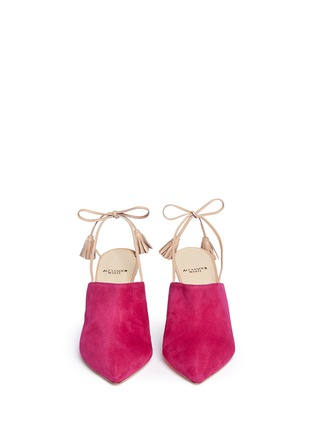 Front View - Click To Enlarge - Alexander White - 'Issey' tassel slingback suede mules