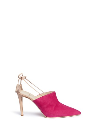Main View - Click To Enlarge - Alexander White - 'Issey' tassel slingback suede mules