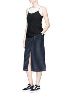 T By Alexander WangStripe slit front raw edge skirt