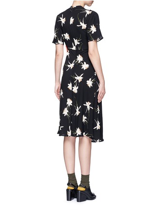 Back View - Click To Enlarge - Topshop - Orchid print mock wrap dress