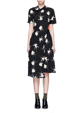 Main View - Click To Enlarge - Topshop - Orchid print mock wrap dress