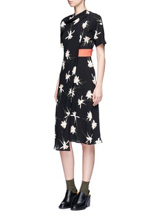 TopshopOrchid print mock wrap dress