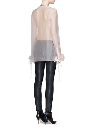 Back View - Click To Enlarge - Haider Ackermann - 'Dendi' mesh pleat silk organza shirt