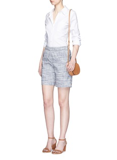 THEORY'Figamore' plaid linen blend shorts