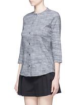 'Kalsentra' collarless linen blend shirt