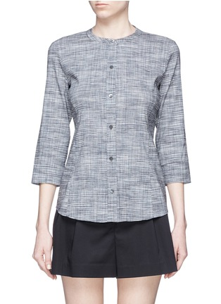Main View - Click To Enlarge - Theory - 'Kalsentra' collarless linen blend shirt