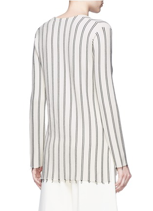 Back View - Click To Enlarge - Theory - 'Haydren' stripe V-neck sweater
