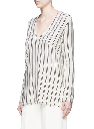 Front View - Click To Enlarge - Theory - 'Haydren' stripe V-neck sweater