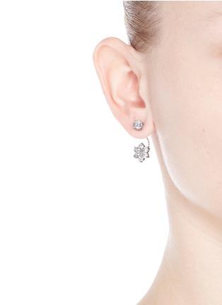 CZ by Kenneth Jay Lane-Cubic zirconia floral drop stud earrings