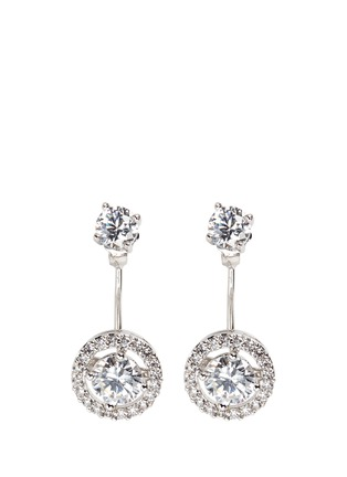 Main View - Click To Enlarge - CZ by Kenneth Jay Lane - Cubic zirconia halo drop stud earrings
