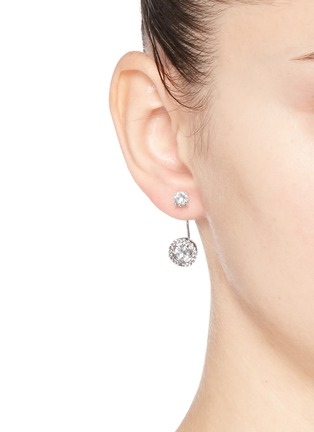 Figure View - Click To Enlarge - CZ by Kenneth Jay Lane - Cubic zirconia halo drop stud earrings