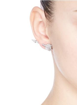 CZ by Kenneth Jay Lane-Cubic zirconia pavé arrowhead earrings