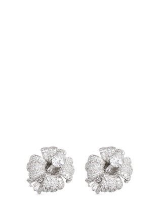 Main View - Click To Enlarge - CZ by Kenneth Jay Lane - Cubic zirconia pavé floral stud earrings