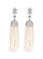 Freshwater pearl Cubic zirconia tassel earrings
