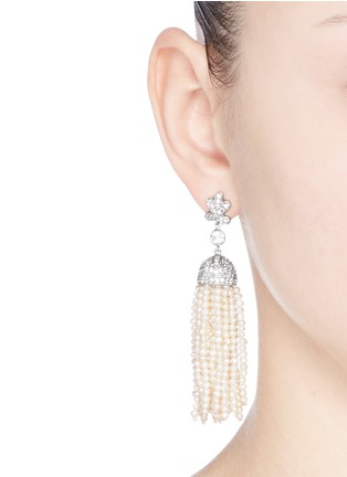 Figure View - Click To Enlarge - CZ by Kenneth Jay Lane - Freshwater pearl Cubic zirconia tassel earrings