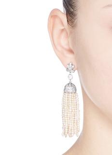 CZ by Kenneth Jay LaneFreshwater pearl Cubic zirconia tassel earrings