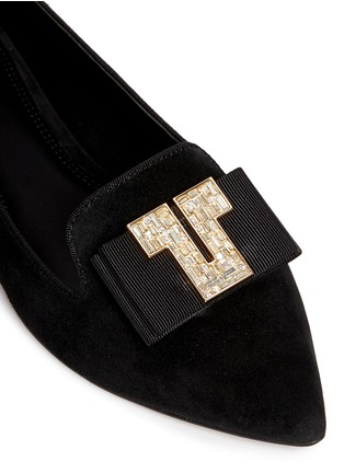 Detail View - Click To Enlarge - Tory Burch - 'Deco T' strass pavé logo suede flats
