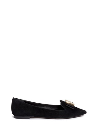 Main View - Click To Enlarge - Tory Burch - 'Deco T' strass pavé logo suede flats