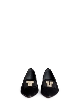 Figure View - Click To Enlarge - Tory Burch - 'Deco T' strass pavé logo suede flats