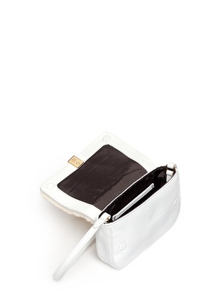 Detail View - Click To Enlarge - Elizabeth and James - 'Cynnie Nano' shearling leather crossbody bag