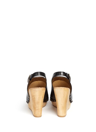 Back View - Click To Enlarge - Sam Edelman - 'Camilla' wooden wedge leather slingback sandals