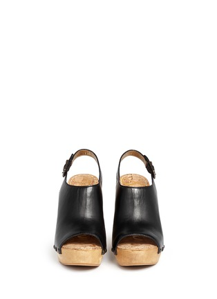 Front View - Click To Enlarge - Sam Edelman - 'Camilla' wooden wedge leather slingback sandals