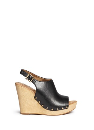 Main View - Click To Enlarge - Sam Edelman - 'Camilla' wooden wedge leather slingback sandals