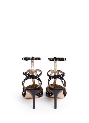 Back View - Click To Enlarge - Sam Edelman - 'Ocie' stud suede caged leather pumps
