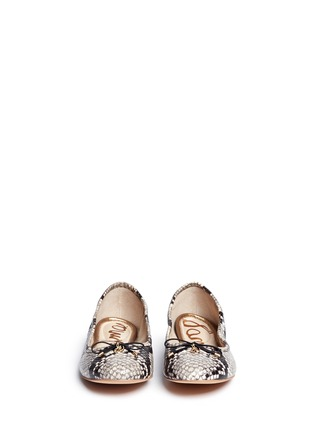 Front View - Click To Enlarge - Sam Edelman - 'Felicia' python embossed ballet flats