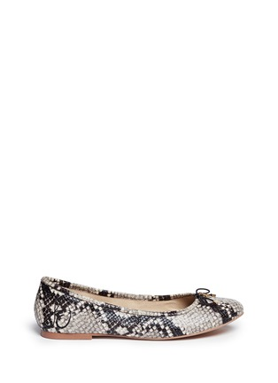Main View - Click To Enlarge - Sam Edelman - 'Felicia' python embossed ballet flats