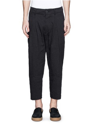 Ziggy Chen - Pinstripe cotton-linen harem pants