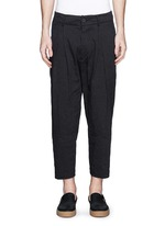 Pinstripe cotton-linen harem pants