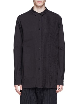 Main View - Click To Enlarge - Ziggy Chen - Pleat side cotton voile shirt