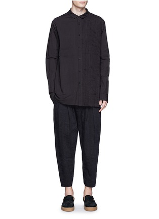 Figure View - Click To Enlarge - Ziggy Chen - Pleat side cotton voile shirt
