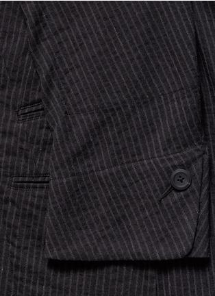 Detail View - Click To Enlarge - Ziggy Chen - Double placket pinstripe cotton-linen blazer